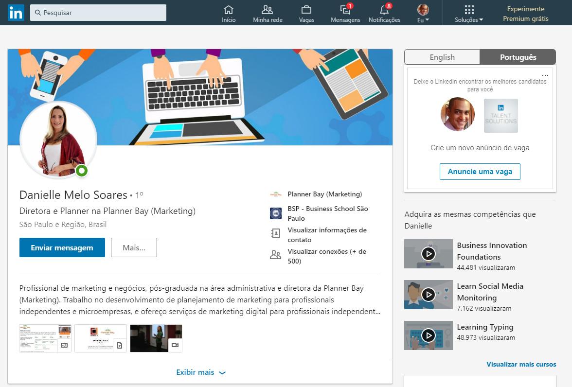 atualização de perfil no linkedin